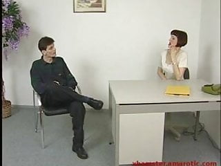 Sexy job interview - Fucking female boss in a job interview in the office