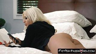 Restrained blonde bombshell Brandie Bae takes on a huge cock