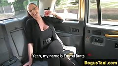 Busty taxi milf creampied closeup in pussy