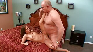 Older grandpa fucks stunning young thin girl  in her pussy