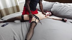 Feminist white wife dominated by Black man in front of hubby