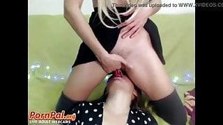 Blonde Lesbian Cums In Her Girlfriend's Mouth