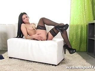 Sexy muscle elegance Elegant honey in sexy black stockings teasing herself