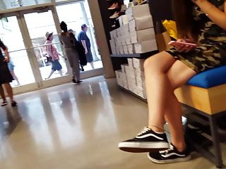 Nude hunting camo - Candid voyeur teen in tight camo dress hot shopping