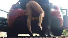 Wife outdoor orgasm on a coffee break in a nearby car park