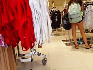 Vintage clothes shop carnaby street - Candid voyeur teen in cheeky shorts clothes shopping