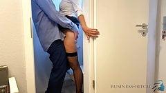 boss meets secretary in the office restroom - business-bitch