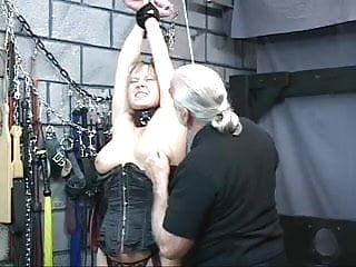 Fetish nipples - Chubby bdsm slut gets nipples pinched then bound on table for bj