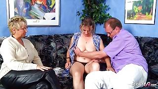German old Couple Seduce Mature Maid to FFM Threesome Sex
