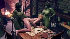 Two Shemale Monsters fuck Tranny Elf - 3D Cartoon Threesome