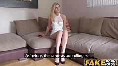 Sexy blonde babe Eva rides a hard cock on a casting shoot