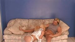 Busty blonde in high boots rides dick reverse cowgirl