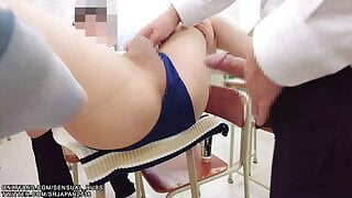 3P Student fucked in classroom wearing sexy sports uniform