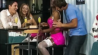 Ebony Babe Double Penetrated by Euro Swingers
