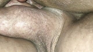 Big cock fucking her hairy pussy