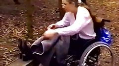 Lesbian Teen in a Wheelchair Meets Her Girlfriend in the Par