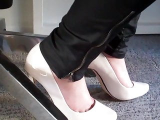 White bumps under penis - Dangling again white high heels under desk