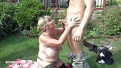 Busty milf Alisha Rydes blows her two gardeners