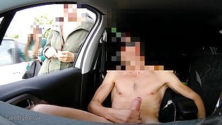 Total naked wank in car with open window