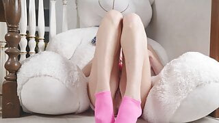 BLONDE IN PINK LINGERIE COMES FROM A VIBRATOR