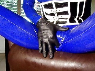 Latex female condom - Masturbation in my blue latex catsuit with condom