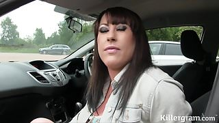 Busty slut gets covered in cum dogging