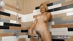 52 year-old AJ Natural Bush Euro-Mom Diana in Steamy Shower
