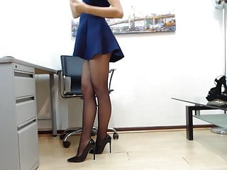 Pantyhose and heels sex Kathy gray in pantyhose and heels teasing with upskirt