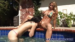 Lesbian Teen Can't Resist Her Stepmom In The Pool