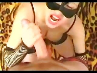 Cats adult Wife in cat mask purrrs as she fucks stranger and eats cum