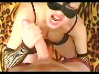 Mother fucks stranger Wife in cat mask purrrs as she fucks stranger and eats cum