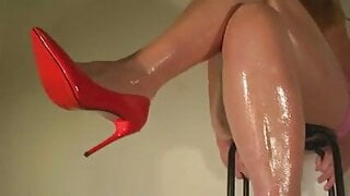 Slapping with my thighs in red heels