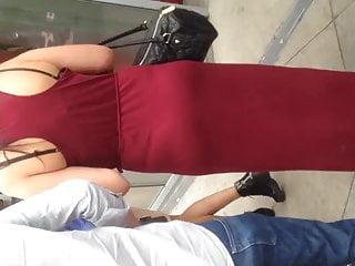 Vintage long sleeve dress - White milf showing thong in long dress