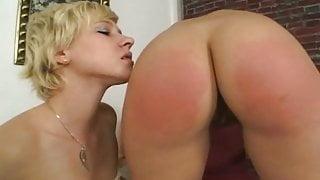 Lesbian BDSM. Spanking and cumming for punishment