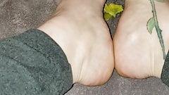 Long toenails mango scratching