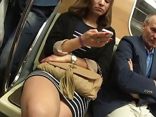 Leg mature stocking Beauty legs of mature girl in the train