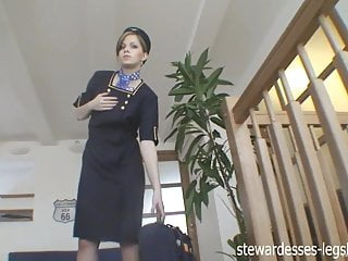 Hot stewardess undressing sexy stockings Abigaile jonhson stewardess