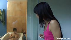 Cute brunette watches her stepsister take a bath