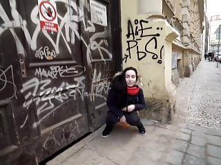 Girl pisses in street - Crazy girl pissing in street