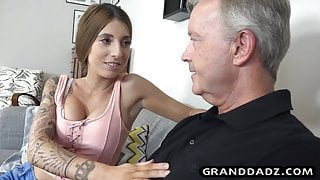 Teen with fake tits fucks her papa John