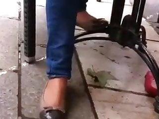 Fetish cafe antwerpen - Candid mature shoeplay feet nylons cafe