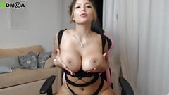 Busty Latina with insane body teases on gamer chair