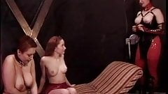Woman puts collar on mature slut's neck then plays with her tits