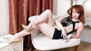 Big boobs Milf masturbates in pantyhose and designer heels