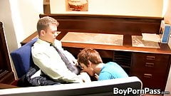 Cute office twink bounces on his bosses dick for a raise