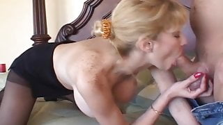 Busty blonde MILF gets fucked and jizzed on