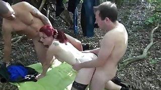 Stranger join fuck slut wife in woods