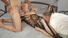 old cuckold husband sharing wife and cleaning cum