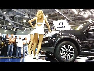 Car show upskirt Car-show upskirts of dancing girls
