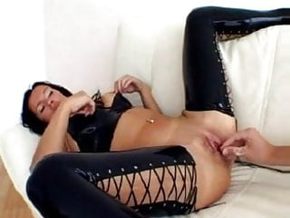 Latex free synthetic hair Sh crazy black hair milf gets fist both holes at same time